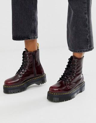 Dr. Martens Jadon chunky boots in vegan cherry-Red