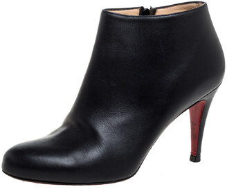 Christian Louboutin Black Leather Belle Ankle Boots Size 39