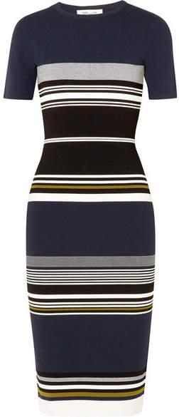 Diane von Furstenberg Striped Stretch-knit Midi Dress - Navy