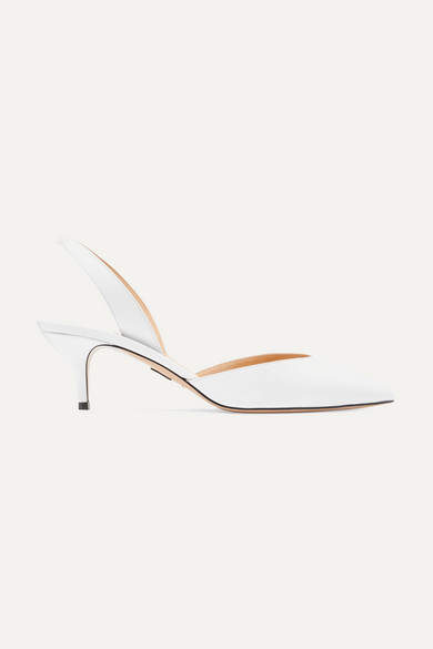 Paul Andrew Rhea Leather Slingback Pumps - White