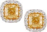 Neiman Marcus Diamonds 18k Yellow Gold Cushion-Cut Yellow Diamond Stud Earrings, 2.3tcw