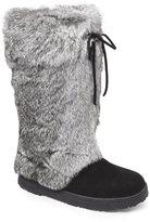 BearPaw Black & Grey Elsa Real Rabbit Fur Boots