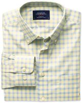 Classic Fit Non-iron Poplin Check Yellow And Sky Blue Cotton Shirt Single Cuff Size Small By Charles Tyrwhitt