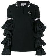 Preen by Thornton Bregazzi ruffle sleeve polo shirt - women - Cotton/Polyamide - S