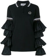 Preen by Thornton Bregazzi ruffle sleeve polo shirt - women - Cotton/Polyamide - XS