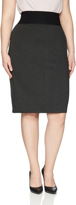 Lark & Ro Amazon Brand Women's Plus Size Compression Ponte Pencil Skirt