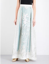 Alberta Ferretti Baroque-print cotton and silk-blend maxi skirt
