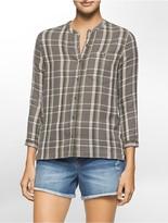 Calvin Klein Lightweight Plaid 3/4 Sleeve Shirt