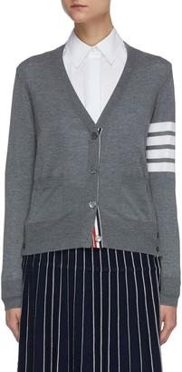 Thom Browne Stripe sleeve merino wool cardigan