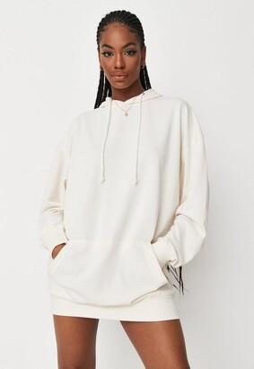Missguided Ivory Oversized Hooded Brushed Back Sweater Dress
