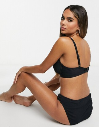 Pour Moi? Pour Moi Fuller Bust Sol Beach underwired rope bikini top in black rib