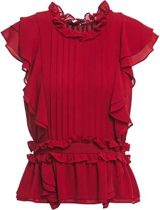 Marissa Webb Tiered Ruffled Pintucked Crepe Blouse