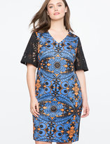 ELOQUII Studio Printed Dress with Lace Sleeves