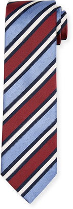 Brioni Men's Wide Stripe Silk/Cotton Tie