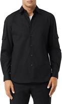 Burberry Crawfton Velvet Trim Button-Up Shirt