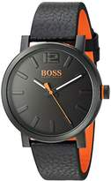 HUGO BOSS BOSS Orange Men's 'BILBAO' Quartz Stainless Steel and Leather Casual Watch, Color:Black (Model: 1550038)