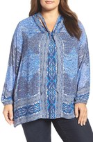 Lucky Brand Plus Size Women's Cutout Tie Neck Blouse