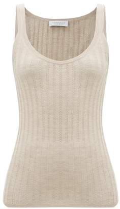 Gabriela Hearst Nevin Jaipur Ribbed-knit Cashmere-blend Top - Womens - Beige
