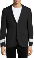 Lanvin Slim-Fit Two-Button Sport Jacket with Reflective Arm Bands, Black