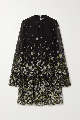 Erdem Concetta Tiered Floral-print Silk-chiffon Mini Dress - Black