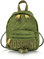 Moschino Khaki Quilted Nylon Mini Backpack w/Studs