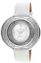 Peugeot Women's J6371SWT Crystal-Accented Watch with White Leather band