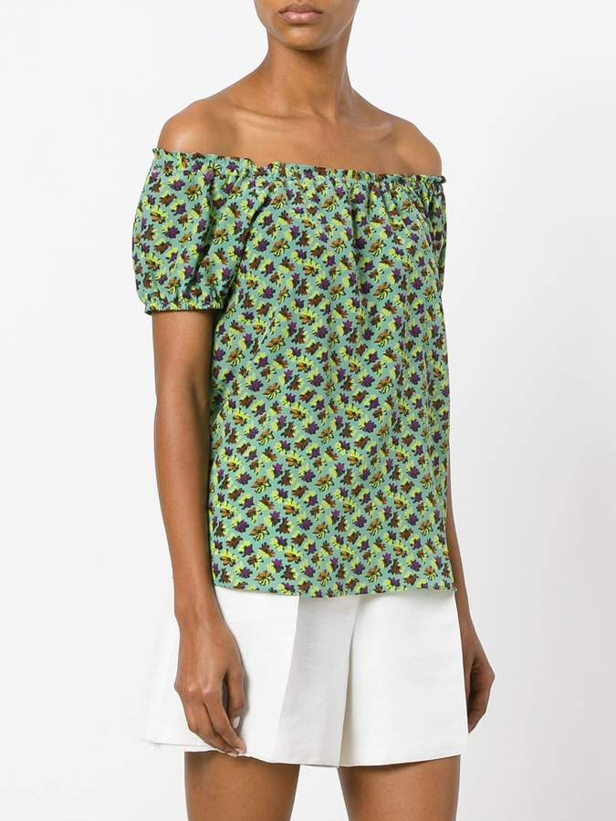 Etro off shoulder printed top