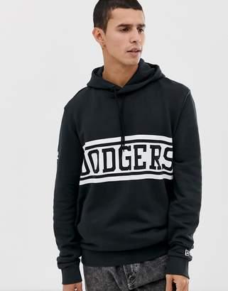 New Era MLB LA Dodgers hoodie with large panel logo in black