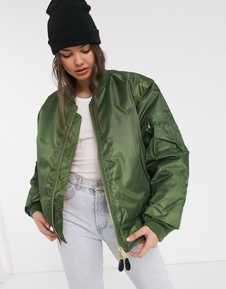 Vintage Supply oversized ma1 bomber jacket-Green