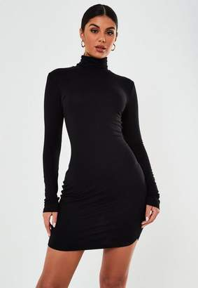 Missguided Tall Black Turtle Neck Bodycon Dress