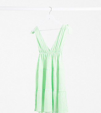 Asos Tall ASOS DESIGN Tall mini sundress with tie detail straps in gingham print
