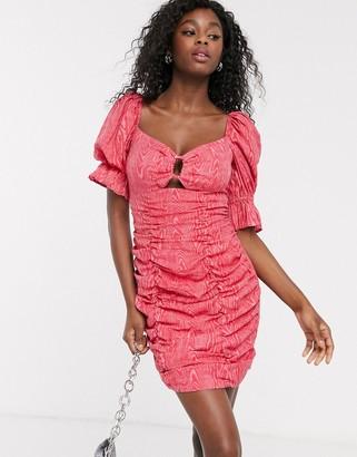 C/Meo Early On puff sleeve mini dress in pink