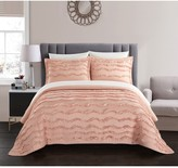 Natalya Stitched Wave Pattern With Ruffled Details Twin Quilt - Blush