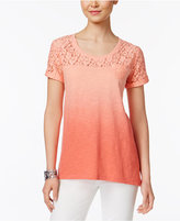 Style&Co. Style & Co Lace-Yoke Ombré Top, Only at Macy's