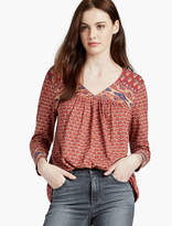 Lucky Brand Mix Print Double V Top