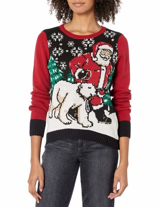 Ugly Christmas Sweater Company Junior's Light-Up Santa and Polar Bear Pullover