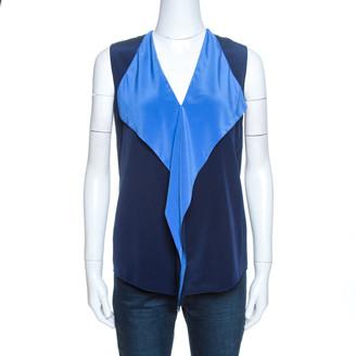Diane von Furstenberg Navy Blue Silk Ruffle Detail Isabel Top XS