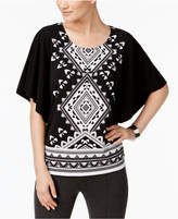 JM Collection Petite Printed Butterfly-Sleeve Top, Created for Macy's