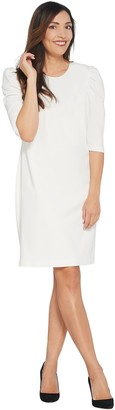 Vince Camuto 3/4 Sleeve Puff Shoulder Crepe Ponte Dress