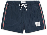 Thom Browne Slim-Fit Short-Length Stripe-Trimmed Swim Shorts