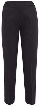 Etro Satin Trimmed Wool Blend Cropped Trousers - Womens - Black