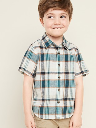 Old Navy Linen-Blend Plaid Shirt for Toddler Boys