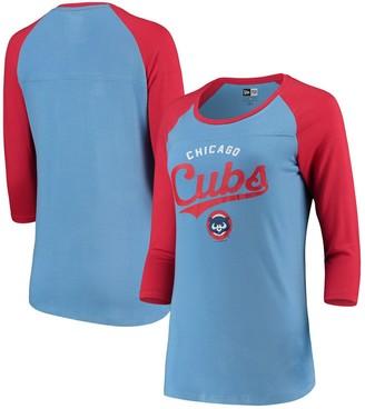 New Era Chicago Cubs Women's Cooperstown Raglan 3/4-Sleeve T-Shirt - Light Blue/Red