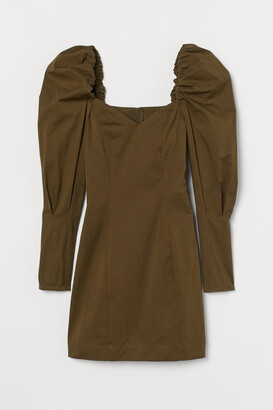 H&M Puff-sleeved Dress - Green