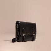 Burberry Medium London Leather Messenger Bag, Black