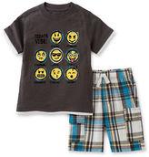 Kids Headquarters Baby Boys Emoji Two-Piece Tee and Shorts Set