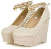 Getmorebeauty Women's Wedge With Gold Tassel Dress Super Platform High heel