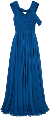 Jason Wu Collection Cold-shoulder Pleated Silk-chiffon Gown