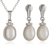 Bella Pearl Crown Pearl Necklace and Earrings Jewelry Set