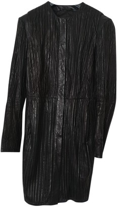 Trussardi Black Leather Coat for Women